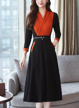 Color Block Pockets Long Sleeve Midi A-line Dress