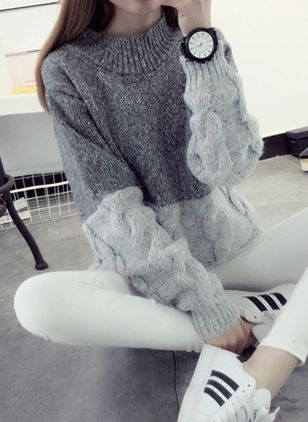 High Neckline Color Block Loose Regular None Sweaters