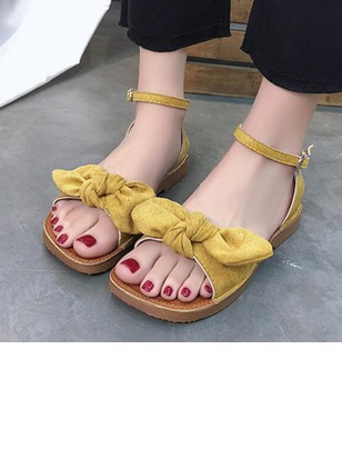 a64e9bdb29d2 Bowknot Buckle Ribbon Tie Ankle Strap Flat Heel Shoes - Airydress