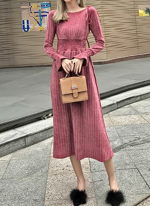 Solid Sweater Long Sleeve Midi A-line Dress