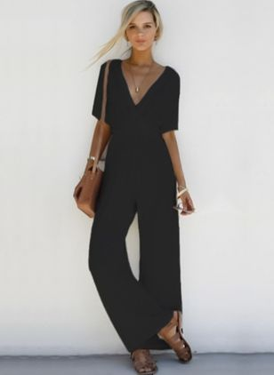 Solid Half Sleeve Jumpsuits & Rompers