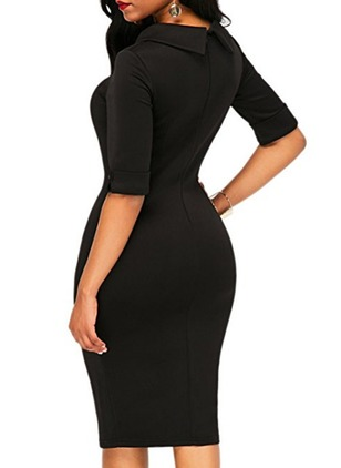 Solid Pencil Half Sleeve Midi Sheath Dress