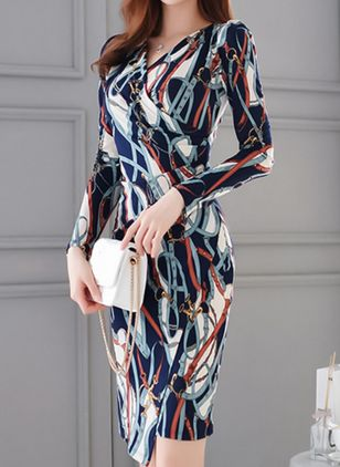 Color Block Pencil Long Sleeve Knee-Length Bodycon Dress