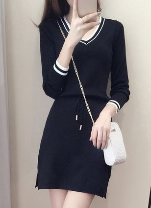 Color Block Wrap Long Sleeve Above Knee Shift Dress