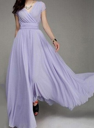 Solid Ruffles Wrap Maxi A-line Dress