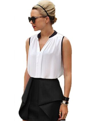 Color Block Elegant V-Neckline Sleeveless Blouses
