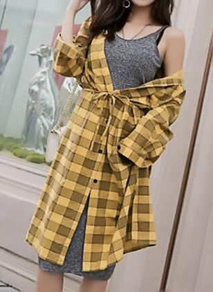 Plaid Buttons Shirt Midi Shift Dress