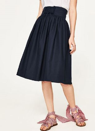 Solid Knee-Length Casual Sashes Skirts
