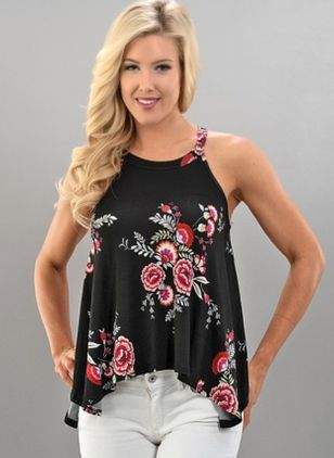 Floral Casual Halter Neckline Sleeveless Blouses