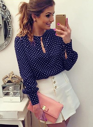 Polka Dot Cute Round Neckline Long Sleeve Blouses