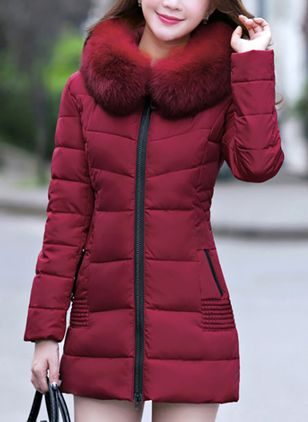 Long Sleeve Hooded Pockets Padded Coats