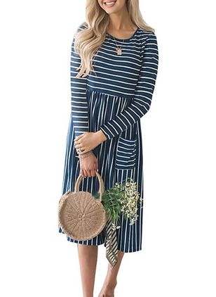 Stripe Pockets Long Sleeve Midi Shift Dress