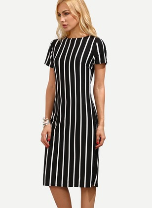 Stripe Short Sleeve Midi Shift Dress