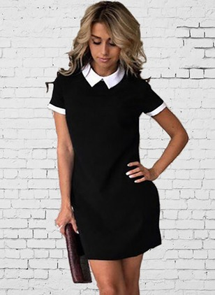 Color Block Shirt Short Sleeve Above Knee Shift Dress