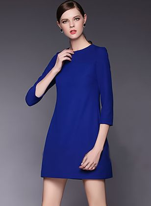 Solid 3/4 Sleeves Above Knee Shift Dress