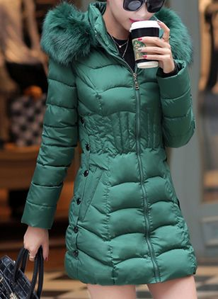 Long Sleeve Hooded Buttons Zipper Removable Fur Collar Padded Coats