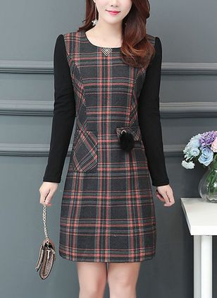 Plaid Pockets Long Sleeve Above Knee Shift Dress