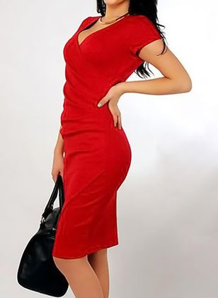 Женщины V-образным вырезом Ruched Package Hip Mini Pencil Dress Asymmetric Front Split