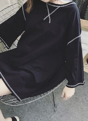 Color Block Sweatershirt 3/4 Sleeves Above Knee Shift Dress