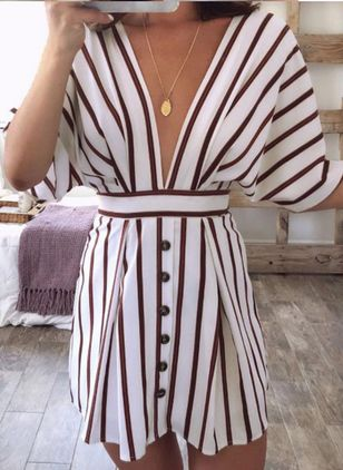 Stripe Half Sleeve Above Knee Dress