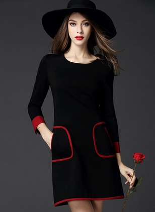 Color Block Pockets 3/4 Sleeves Above Knee Sheath Dress