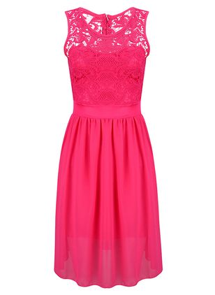 Solid Lace Sleeveless Midi Dress