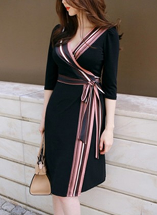 Color Block 3/4 Sleeves Knee-Length A-line Dress