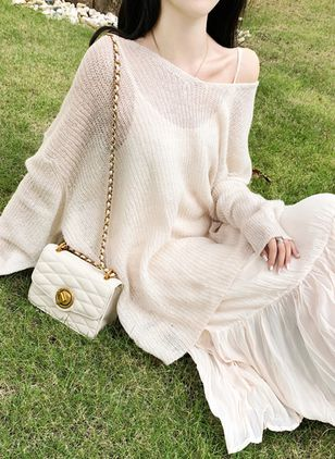Solid Ruffles Long Sleeve Maxi Shift Dress