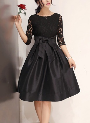 Solid Lace Wrap Knee-Length A-line Dress