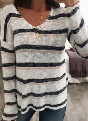 V-Neckline Stripe Loose Regular None Sweaters