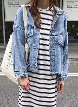 Long Sleeve Collar Hollow Out Denim Jackets