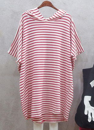 Stripe Sweatershirt Short Sleeve Above Knee Shift Dress