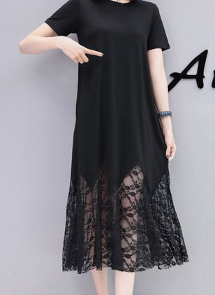 Solid Lace Short Sleeve Midi Shift Dress