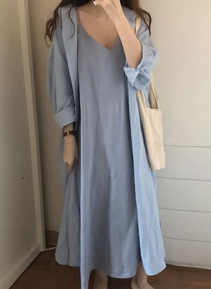 Solid Slip Sleeveless Maxi Shift Dress