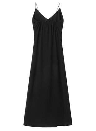 Solid Slip Sleeveless Midi Shift Dress