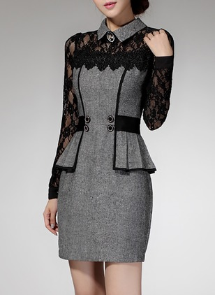 Color Block Lace Pencil Above Knee Sheath Dress