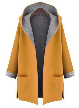 Women Yellow New Fashion Casual Pocket Hooded Cardigan Coat