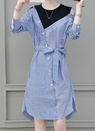 Stripe Shirt Long Sleeve Above Knee Shift Dress