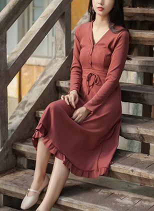Solid Buttons Wrap Long Sleeve Midi Dress