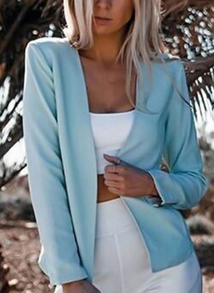 Long Sleeve Collarless Blazers Coats