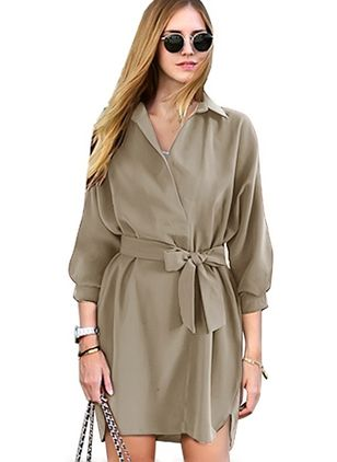 3/4 Sleeves Collar Sashes Trench Coats