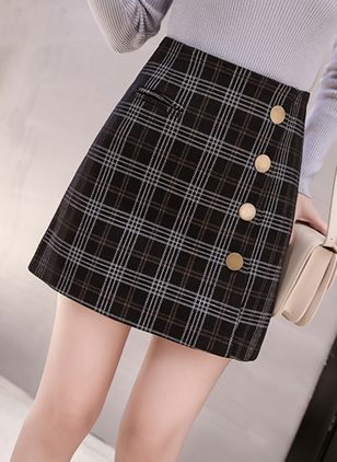 Tartan Above Knee Casual Pockets Skirts