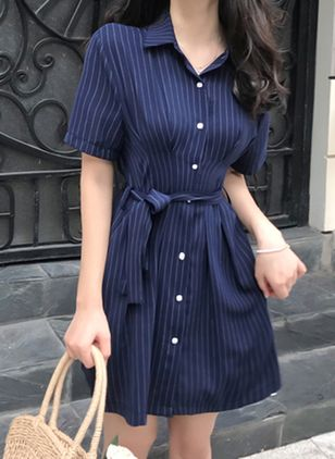 Stripe Buttons Shirt Above Knee X-line Dress
