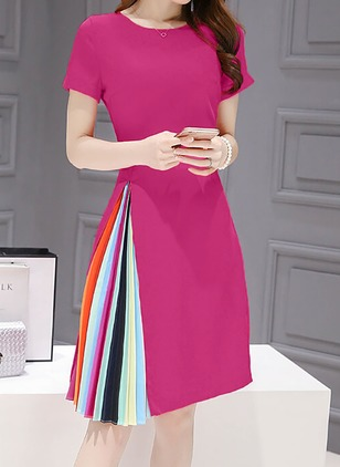 Color Block Short Sleeve Knee-Length A-line Dress