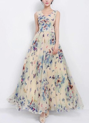 Floral Zipper Tank Maxi A-line Dress
