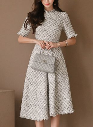 Solid Sweater Half Sleeve Knee-Length A-line Dress