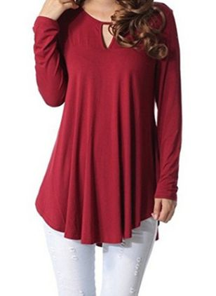 Solid Long Sleeve Casual T-shirts