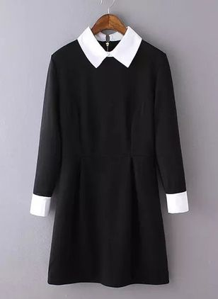 Solid Zipper Shirt Above Knee Shift Dress