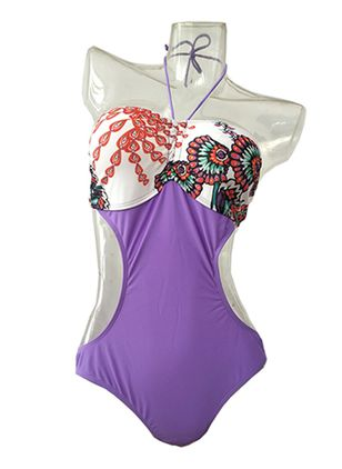 Halter Flowers One-piece Swimwear