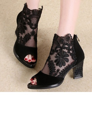 Stitching Lace Peep Toe Others Shoes